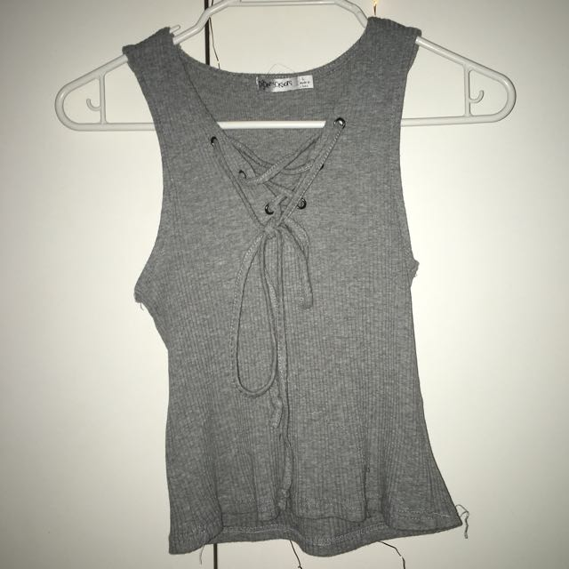 GREY LACE UP SINGLET