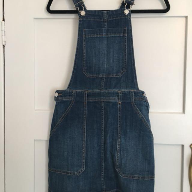 H&M denim pinafore dress