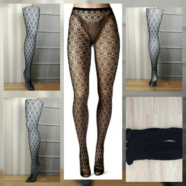 Hue circle net tights with open pattern