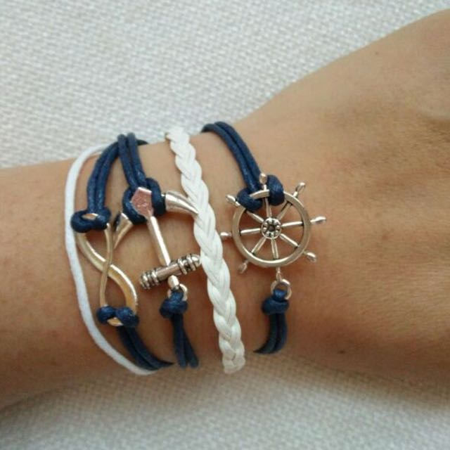 infinity Nautical Anchor Blue and White Bracelet