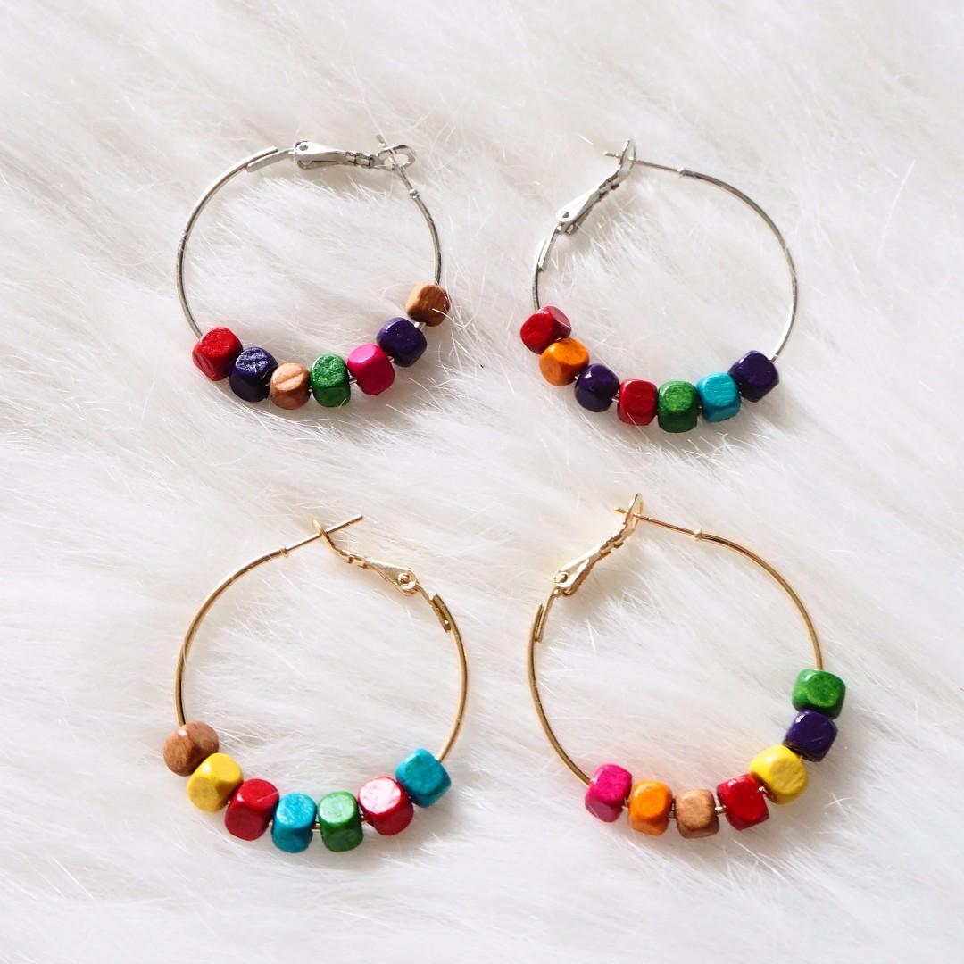 *instocks* Rainbow Blocks Earrings