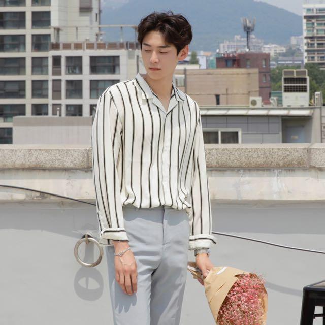 Ivory Loose Fitting Men Striped Shirt Korean Style Men S Fashion