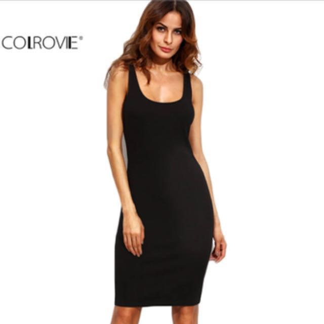 Jersey ribbed knit classic little black dress size 6