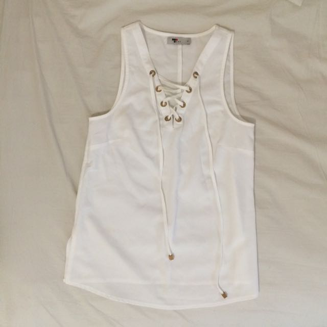 Lace Up White Top