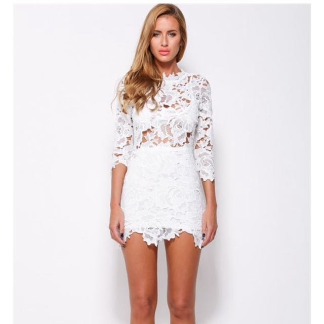 Lioness White Lace Dress