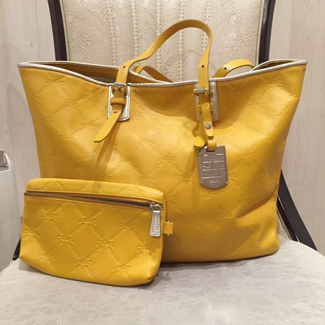 Longchamp全皮壓紋手提包(附小袋)