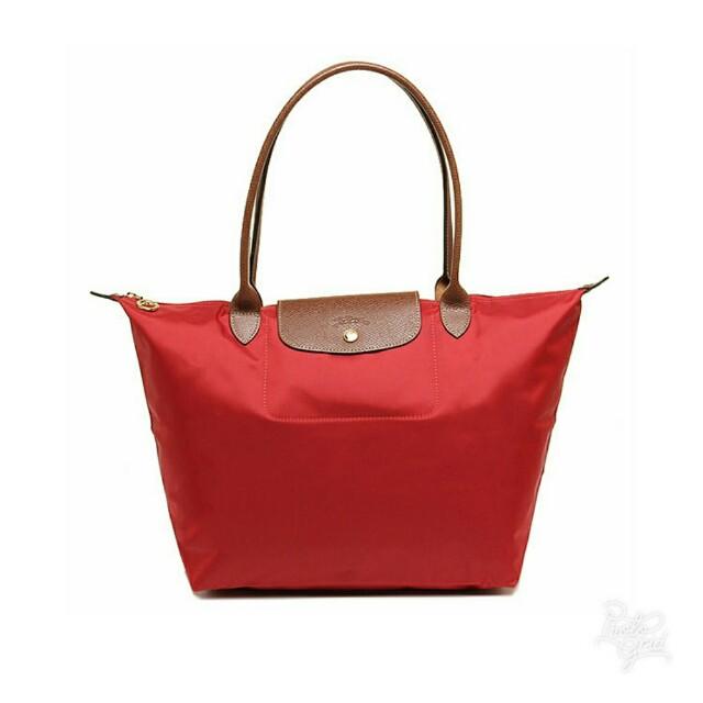 Longchamp Le Pliage Authentic Tote Bag red tas asli original