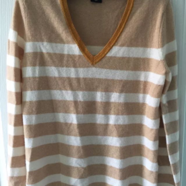 Lord & Taylor 100% Cashmere V-Neck Striped Sweater Size M