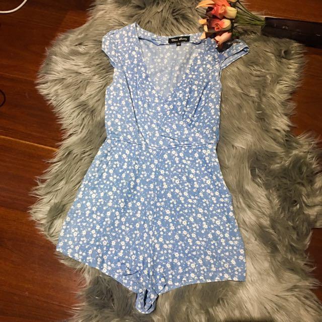 Miss Cherry Blue Vintage Playsuit Size 6