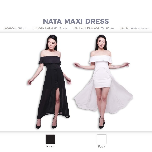 Nata Maxi Dress Gaun Pesta Midi Dress Skort Sabrina Shoulder Off