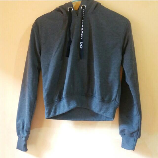 Gray Crop Hoodie Jacket