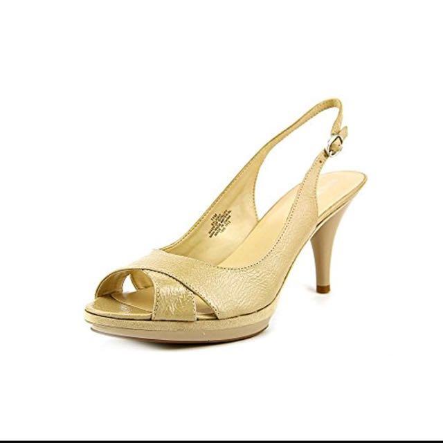 Nine West nude peeptoe slingback heel