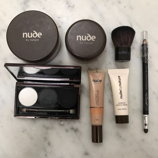 NUDE by nature bundle - smokey eye palette, blush, bronzer, concealer, primer, brush