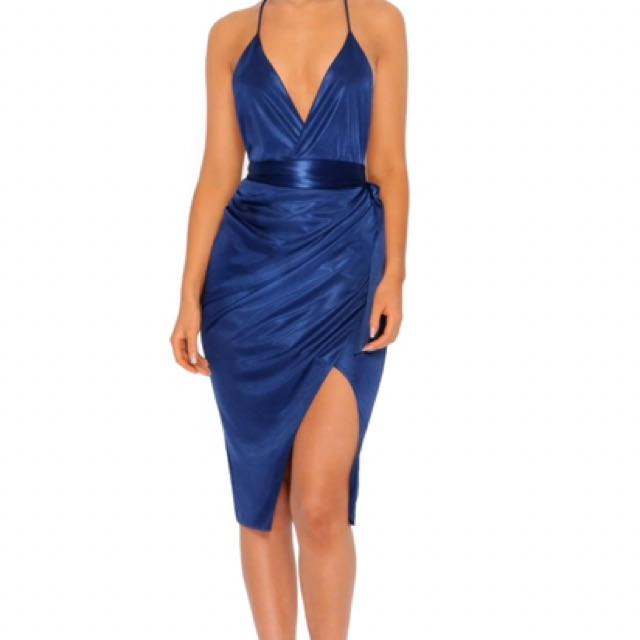 Oh Polly silk blue cocktail dress