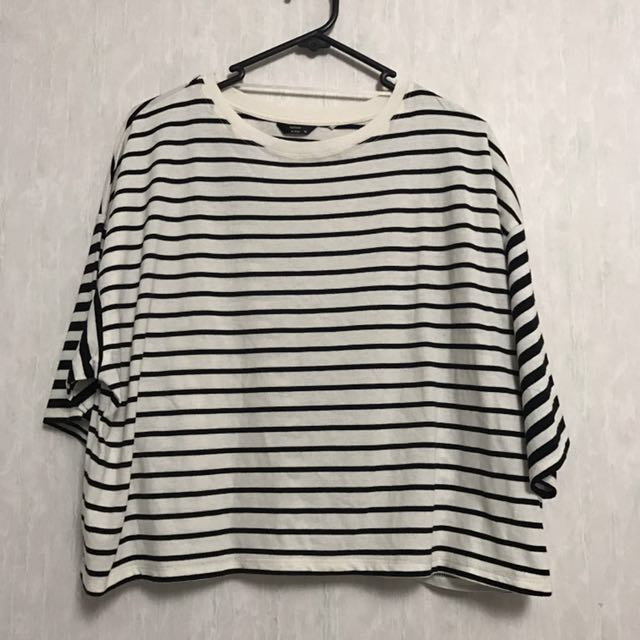 Oversized Striped Crop Top
