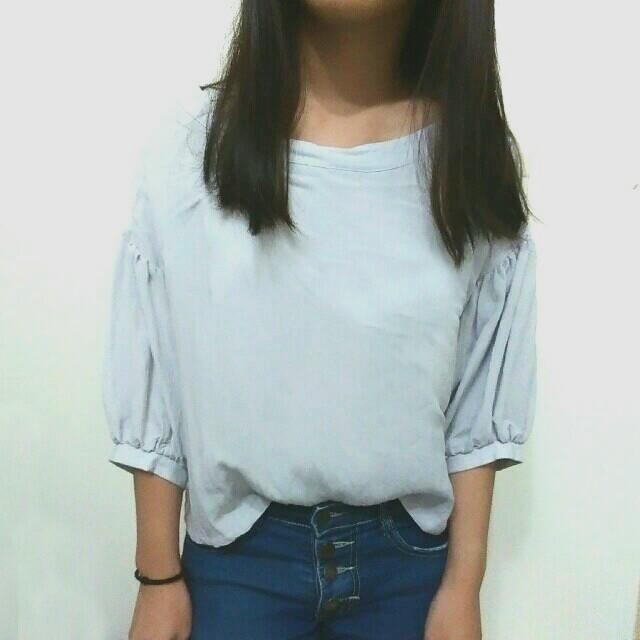 【全新】Pazzo七分泡泡袖寬圓領棉麻上衣-灰藍色