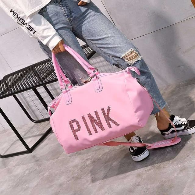 PINK traveling bag // black & pink