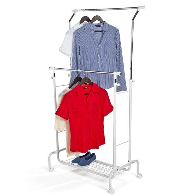 Portable clothing rack double parallel