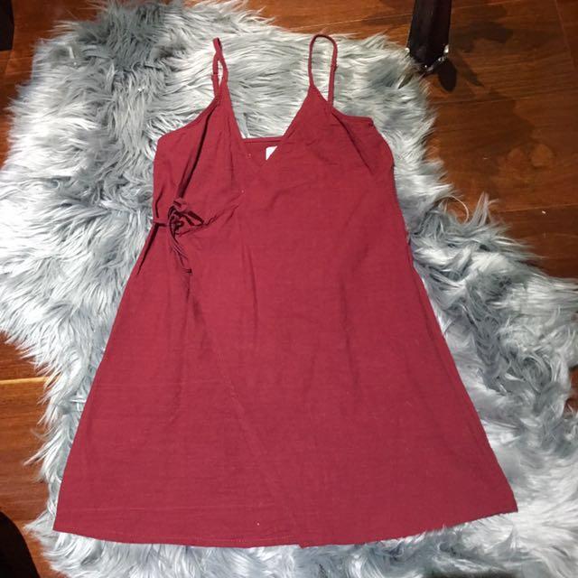 Princess Polly Cranberry Wrap Mini Dress Size XS