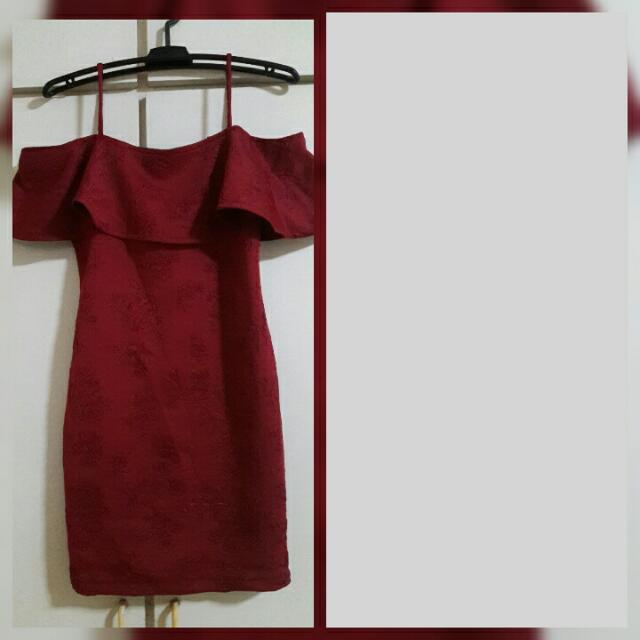 Red Maroon Off Shoulder Dress