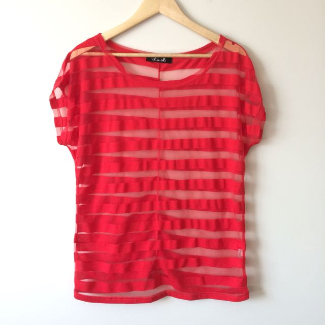 Red Stripe See-through Top