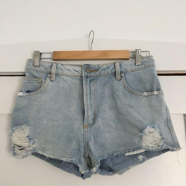 Ripped Denim mini shorts