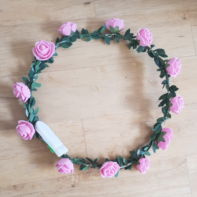Rose floral light up head crown