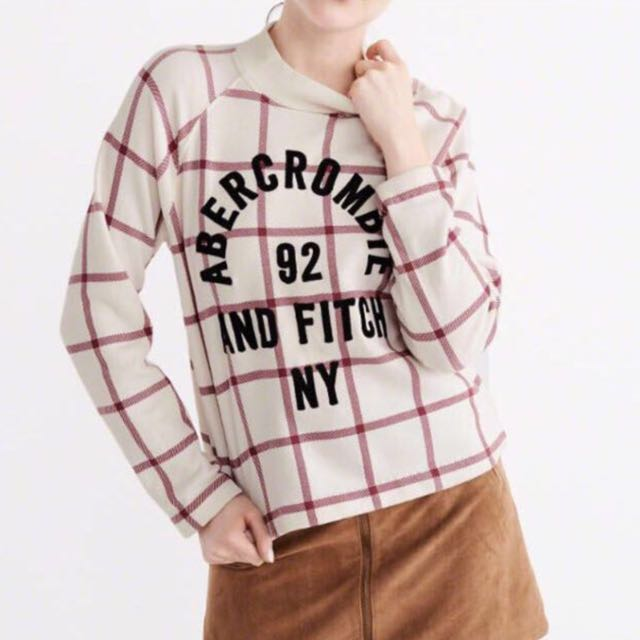 (S) Authentic A&F Ladies Plaid Mock Neck Sweatshirt