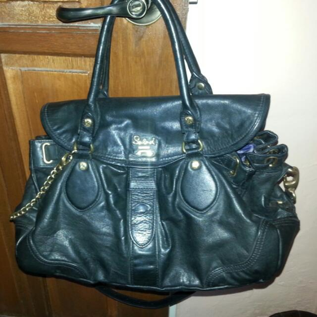Salad Black leather bag