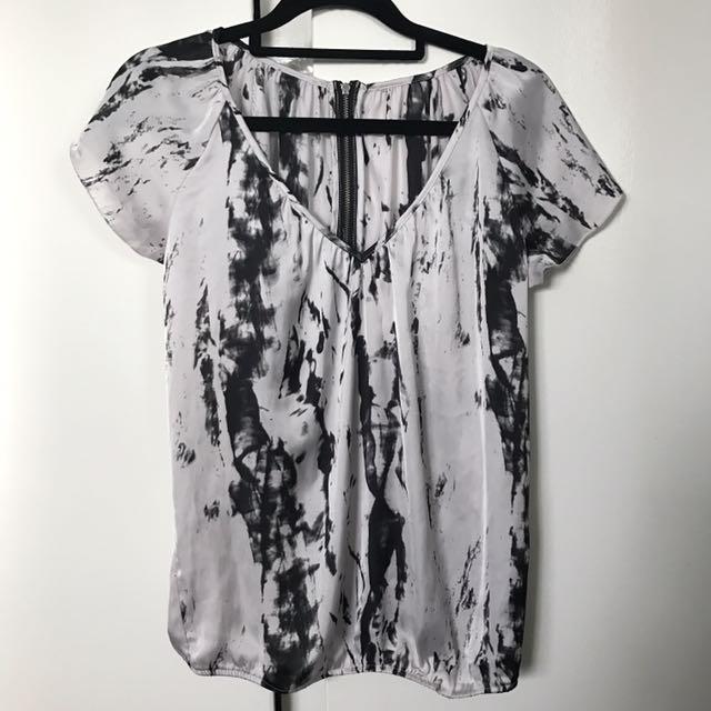 Satin b&w blouse