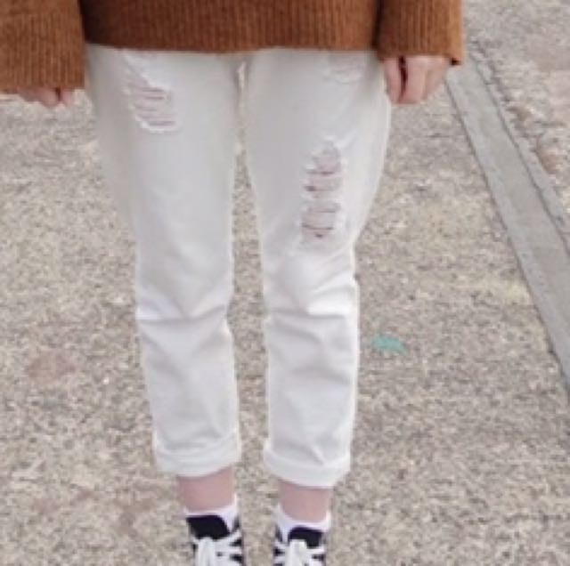 Seed Heritage ripped white Boyfriend jeans