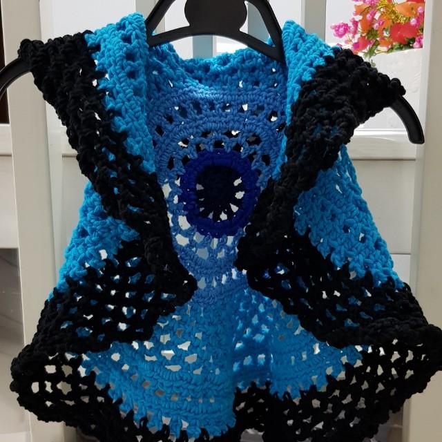 Shades Of Blue Crochet Circular Vest 6 12mths Babies Kids