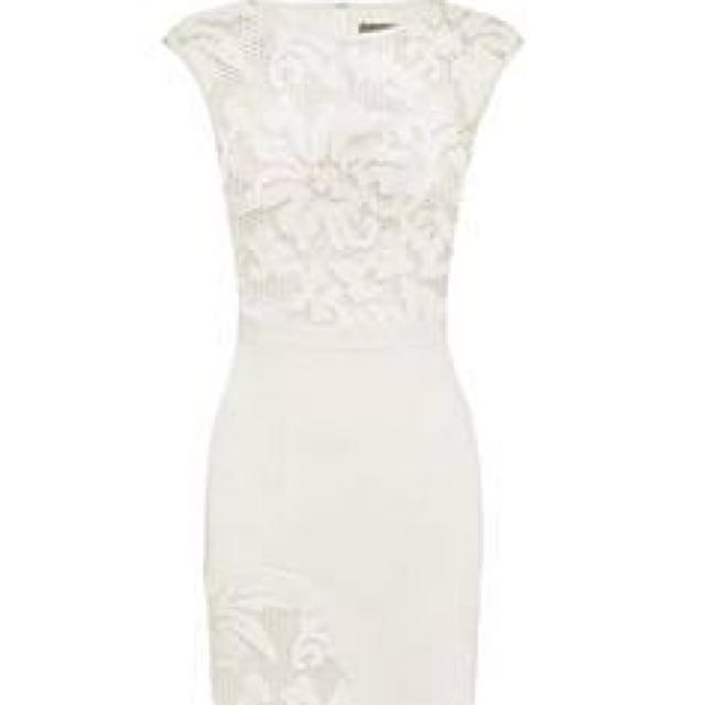 Sheike Lace Panel White Dress