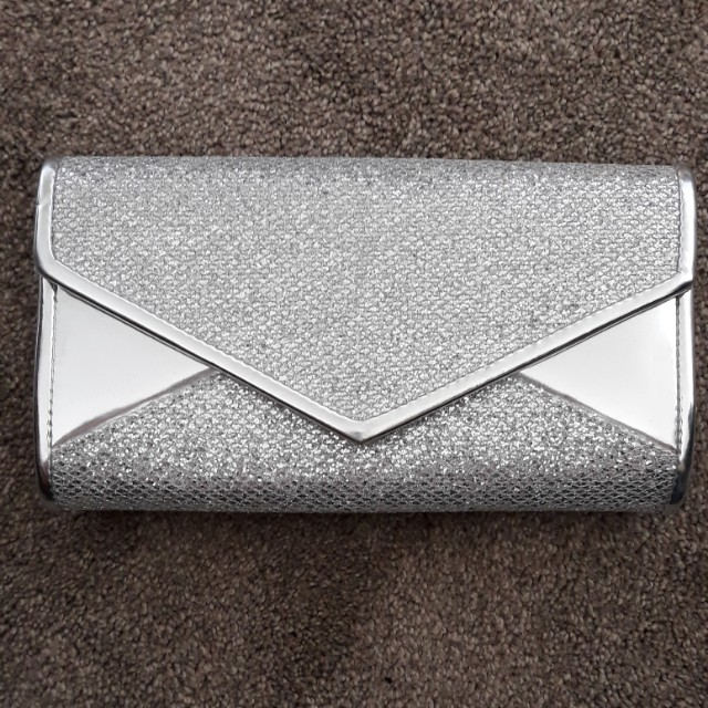 Shiny Silver Bag (Clutch or long handle)