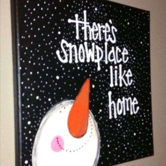 Snowman & religious Christmas canvases