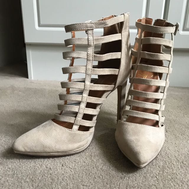 Spurr nude high heel shoes gladiator boots suede