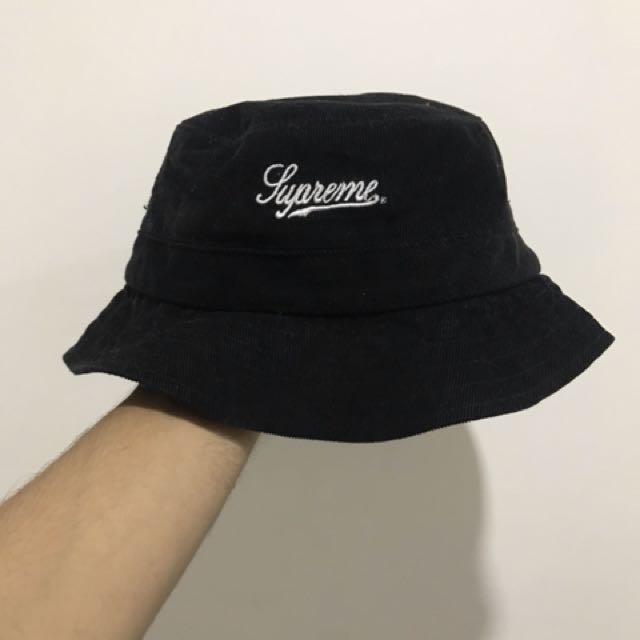 Supreme Corduroy Crusher Bucket Hat Black Authentic SS15 S M Used ... 77178e92af1