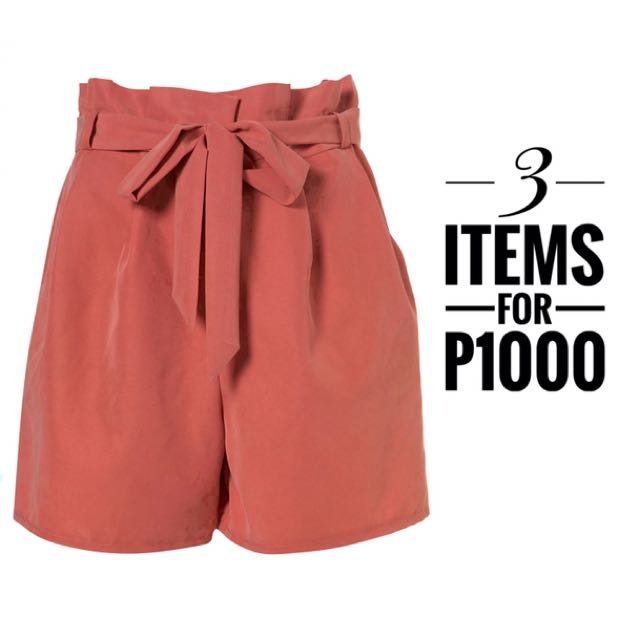 Topshop Apricot Waist Paperbag Shorts