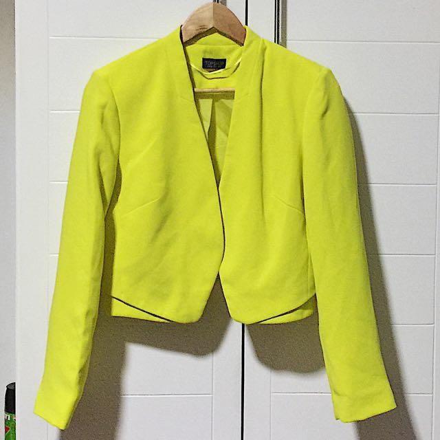 Topshop Neon Yellow Blazer
