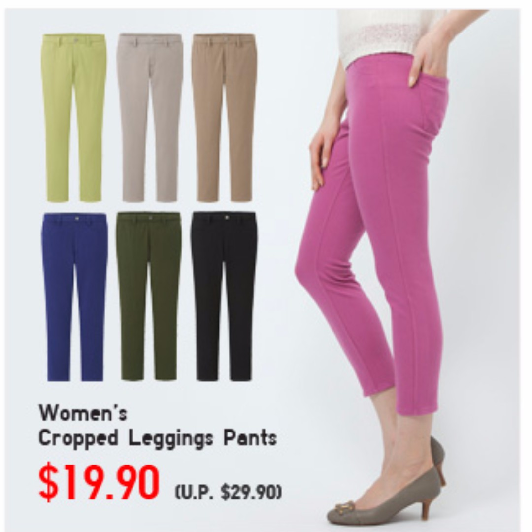 65c780bb8262cf Uniqlo Cropped Legging Pants, BLACK, Size M, Women's Fashion, Clothes, Pants,  Jeans & Shorts on Carousell