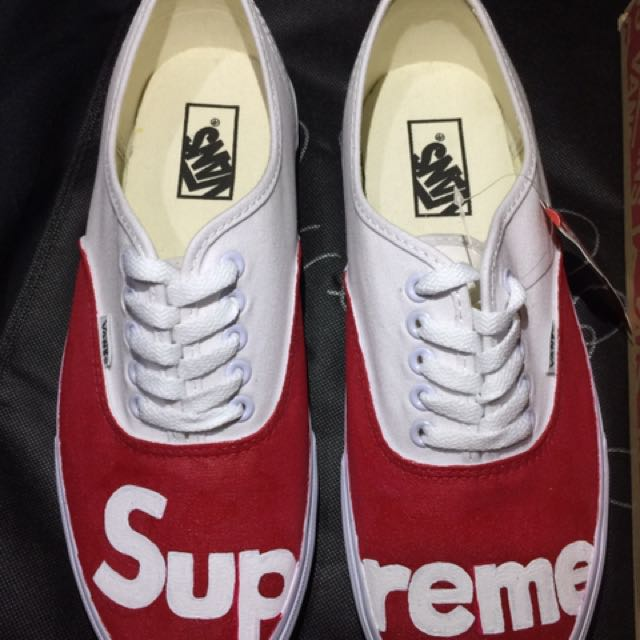 Vans SUPREME All White Custom Shoes Mens Fashion Footwear On Carousell