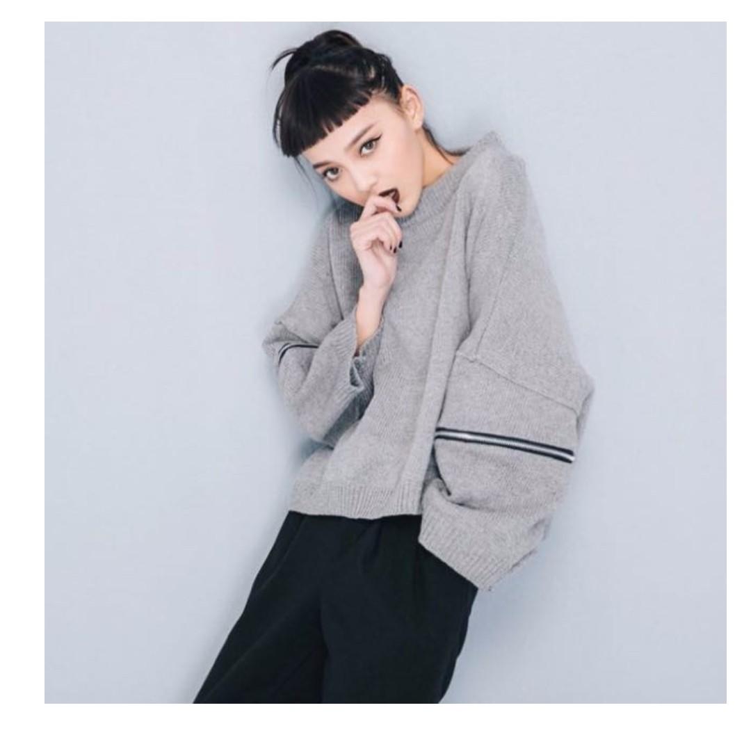 Vii&co 微高領 毛線 寬袖 拉鍊裝飾 寬鬆感 短版毛衣