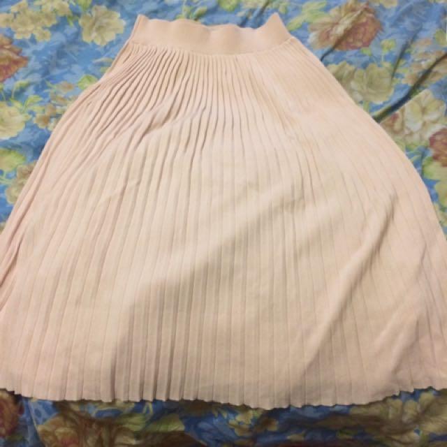 Zara baby pink pleated midi skirt