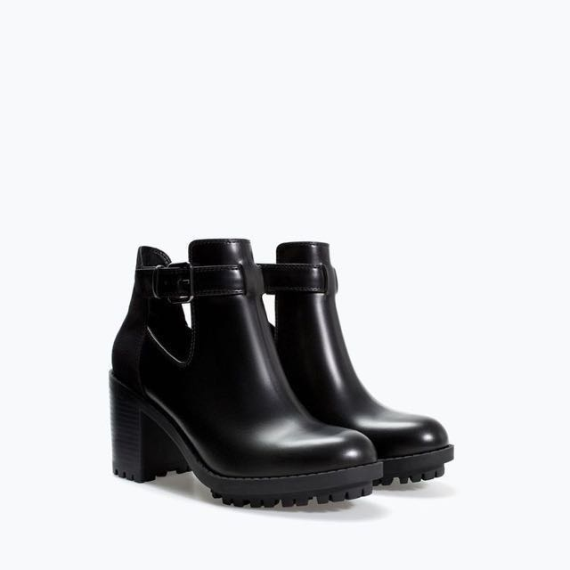 Zara cutout booties with track sole
