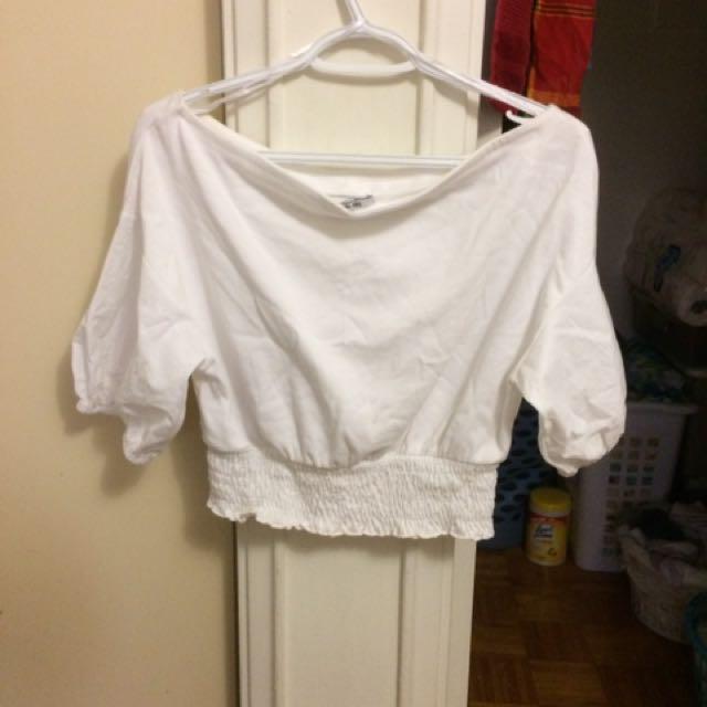 Zara off shoulder top with bell sleeves