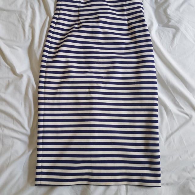 Zara striped blue white midi skirt size 6
