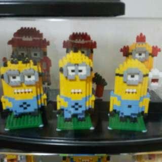 minions lego nano block set of 6