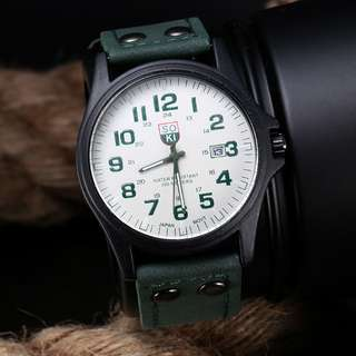 Vintage Casual Classic Men's Waterproof Date Leather Strap Sport Quartz Army Watch - Forest Green (Free Aus Post)