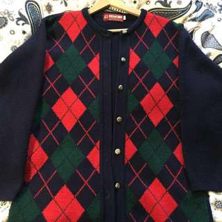 VINTAGE Red and Green cardigan