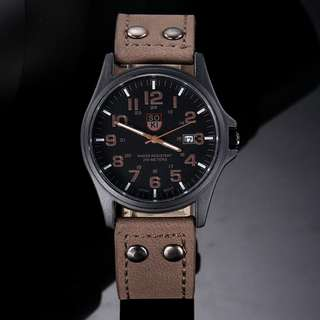 Vintage Classic Men's Waterproof Date Leather Strap Sport Quartz Army Watch (Brown) (Free Aus Post)